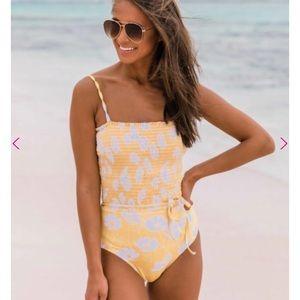 Smocked one piece swimsuit